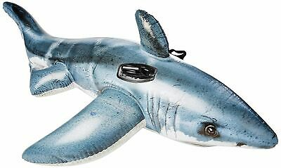 INFLATABLE JAWS WHITE SHARK Play Float Swimming Pool Toy Stable Ride On - Shark Pool Toy
