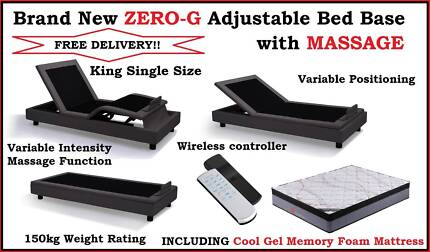 Free Delivery ZERO-G Adjustable Bed Base NEW King Single Size