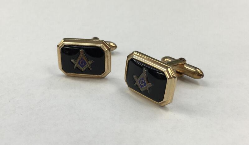 Vintage Gold Toned Free Mason Masonic Cufflinks