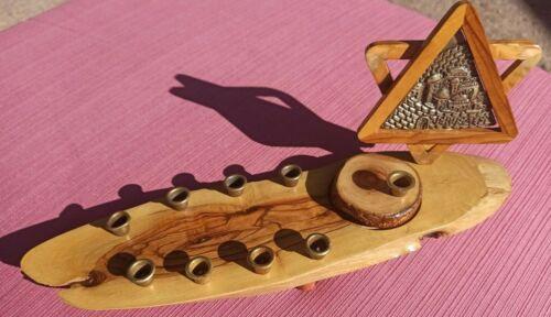 Vintage Menorah Olive Wood Hand Carved Star of David & Metal Jerusalem Insert