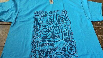Mountain Short Sleeve Tee (Short sleeve t-shirt mountain bike doodle print - blue soft print, fashion tee)