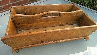 Lovely Heavy Antique Golden Oak Large Cutlery Storage Carrying Tray / Box