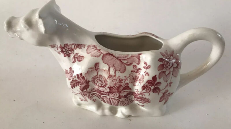 Vintage Cow Creamer  Charlotte Royal Crownford Ironstone England 1074P Red