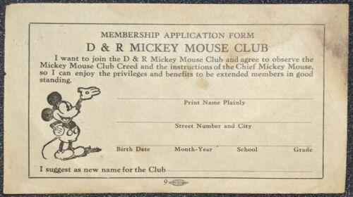 Rare Vintage 1930 D&R Mickey Mouse Club Unused Membership Application Form
