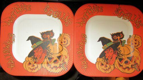 2 Vintage Halloween Witch Pumpkins Owl Orange Cardboard Paper Plates