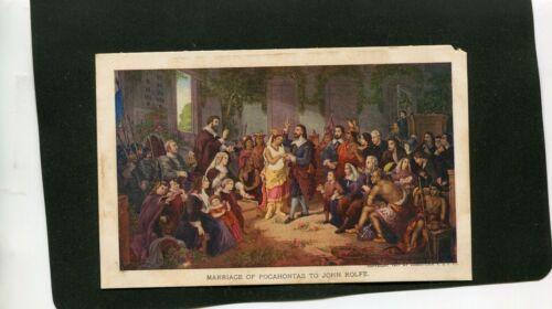 1907 JAMESTOWN EXPOSITION MARRIAGE OF POCAHONTA TO JOHN ROLFE POSTCARD UNUSED