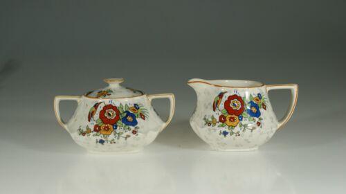 Crown Ducal Art Deco Floral (#1416) Creamer and Lidded Sugar Set, Eng.