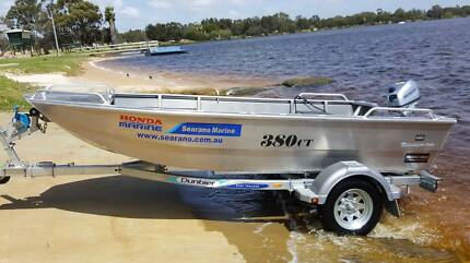 NEW 3.8m aluminium dinghy with trailer and 15hp outboard