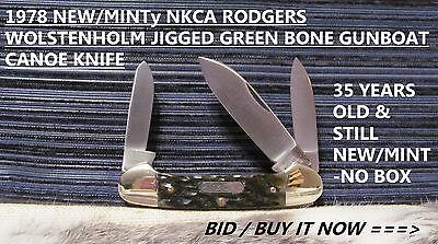 """1978 RODGERS WOSTENHOLM NKCA JIGGED GREEN BONE GUNBOAT CANOE KNIFE,3 5/8"""" CL"""