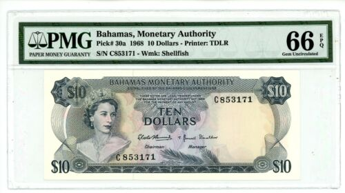 Bahamas  … P-30a … 10 Dollars … 1968 … Gem *UNC*.  PMG 66 EPQ.
