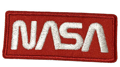 NASA Worm Text Embroidered Patch Iron/Sew-On Applique Space Explorer Planets