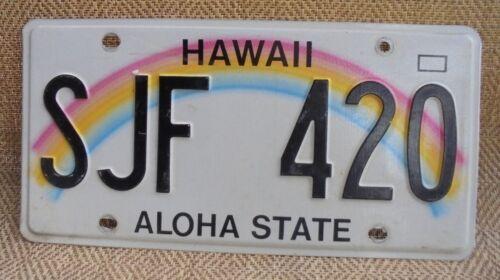 "1991 HAWAII RAINBOW 420 AUTO  LICENSE PLATE "" SJF 420 "" POT WEED SMOKE MARIJUANA"