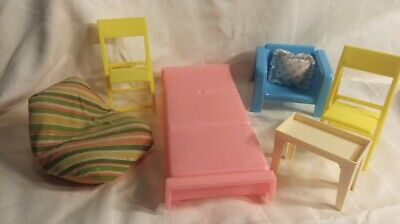 1970s Vintage Barbie Doll Dream Furniture Bed Arco Chairs Dollhouse Lot