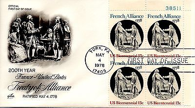 Us Fdc  1753 French Alliance Plate Block  Artcraft  6123