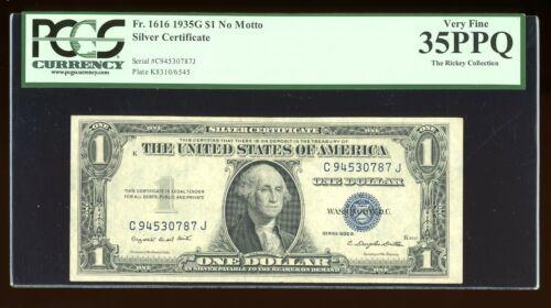 DBR $1 1935-G Silver Fr. 1616 No Motto CJ Block PCGS 35 PPQ Serial C94530787J