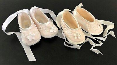 "Sarah Louise Girls Christening Shoe Size 2 / 4.25"" / 3-6m Ivory or White"