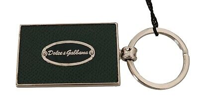 DOLCE & GABBANA Keychain Green Dauphine Leather Silver Logo Keyring RRP $250