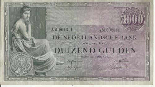 NETHERLANDS 1000 GULDEN  1926  P 48. VF CONDITION.  6RW 02OCT