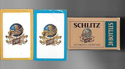 SCHLITZ BEER SEALED DECKS OF PLAYING CARDS W/ UNFOLDED PAPER BOX