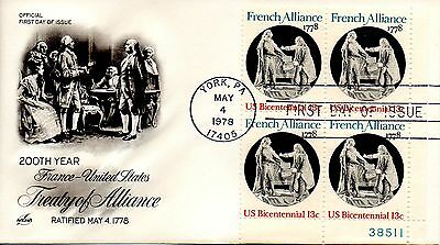 Us Fdc  1753 French Alliance Plate Block  Artcraft  6120