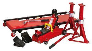 Sealey 5 Piece Lifting Kit Car,Van 2 Ton Trolley Jack, Axle Stands, Creeper, Bar