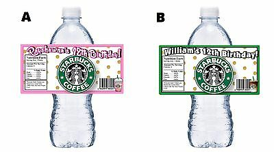 20 STARBUCKS PERSONALIZED BIRTHDAY PARTY FAVORS WATER BOTTLE LABELS WRAPPERS
