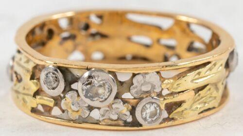 Antique Art Nouveau Diamond Flowers Band Ring 14K Y&W Gold Sz 7