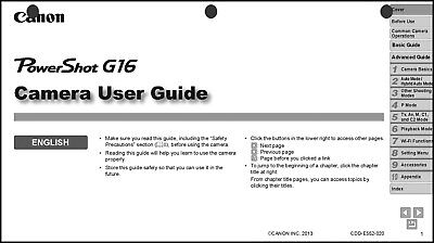 Canon Powershot G16  Digital Camera User Guide Instruction  Manual