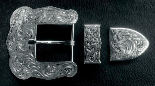 """1 1/2"""" Hand Engraved Silver Belt Buckle Set #44"""