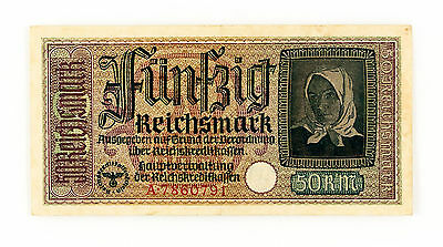 Germany 50 Reichsmark P-R140 1940-45 f+- 2 staple holes
