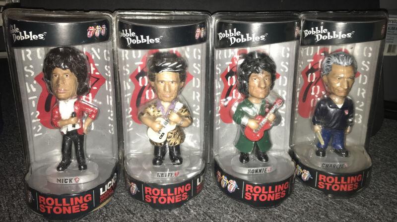 4 NIB Rolling Stones Bobbleheads Licks World Tour Bobble Dobbles 2002 Rock