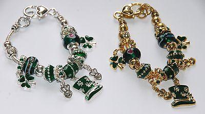 (Irish / St Patrick's Day Charmed Beaded Bracelet w Shamrocks & Irish Hats)