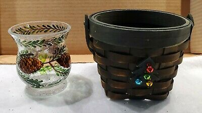 Yankee Candle Christmas Tree Basket With Pinecone Crackled Glass Votive Holder