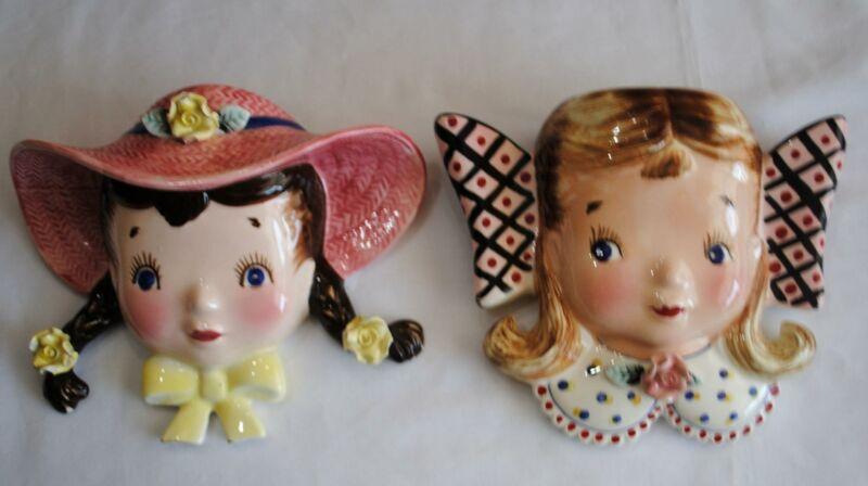 Pair Vtg Enesco Girl Head Hanging Wall Pocket Vase Ceramic Mid Century Modern