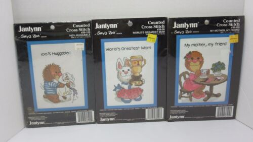 "Lot of 3 Janlynn SUZY'S ZOO Counted CROSS STITCH KITS w/Frame 5"" x 7"""