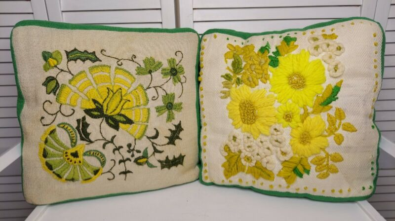 Pair of (2) Vintage Crewel Work Pillows Embroidered Florals MCM Green & Yellow
