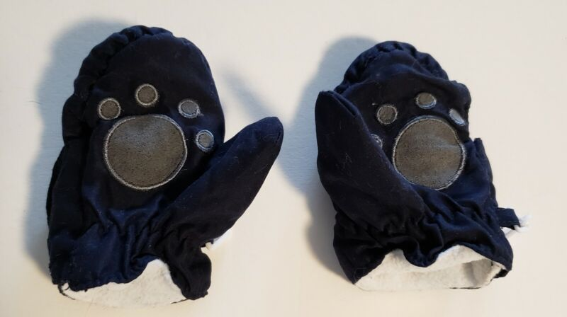 Infant Blue Winter Mittens With Hook & Loop Closure & Clip To Keep Them Together