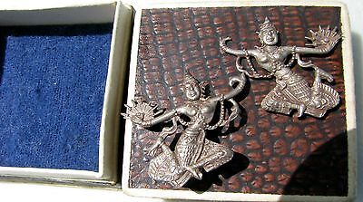 Vintage pair of silver earrings from Siam (Thailand) DANCERS (LOC= G3, tupper)