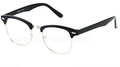 Half Frame Browline Classic Retro Style Clear Lens Glasses Half Brow Black NEW