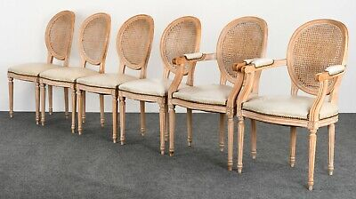 6 French Dining Chairs (Set of 6 Louis XVI Style French Italian Cane Back Oval Dining Chairs,)