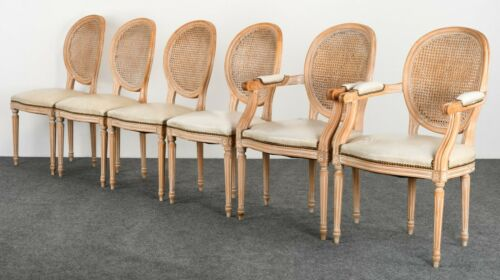 Set of 6 Louis XVI Style French Italian Cane Back Oval Dining Chairs, 1960s