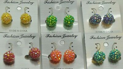 Wholesale jewelry Lot petite Style Colorful disco ball stud Fashion Earrings (Colored Disco Ball)