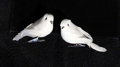 Pair Of Clip On White Christmas Dove Ornaments w/ Real Feathers - Dove Ornaments