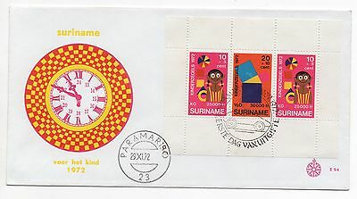 1972 SURINAM First Day Cover CHILD WELFARE Mini Sheet SGMS740
