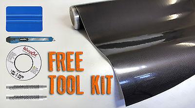 VVIVID8 Tech Art black carbon gloss vinyl car wrap 100ft x5ft + complete toolset