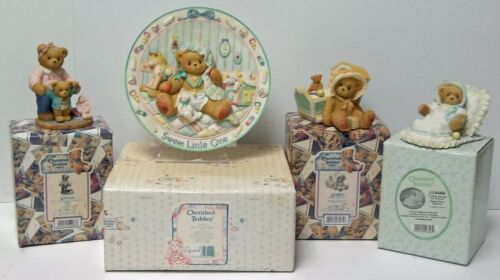 Cherished Teddies Baby Plate, Delia + 2 Baby Figurines, Baby Blesses & Awaiting