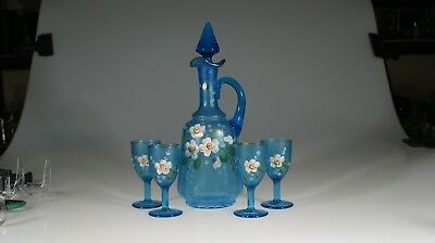 Victorian Blue Glass Decanter Set Handpainted Flowers 4 Wine Glasses c.1900