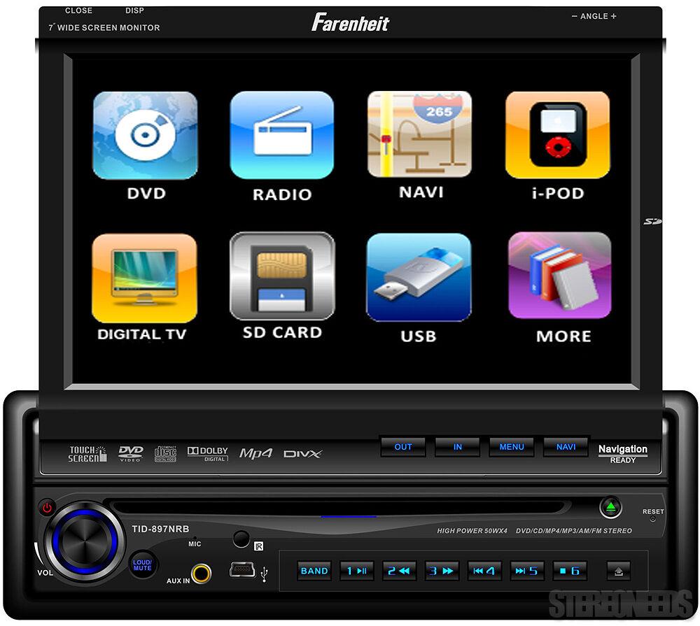 "Farenheit Indash Car 7"" Touch Screen Monitor Bluetooth DVD CD iPod Player 1 DIN"