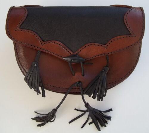 "Leather Medieval Belt Bag - (Black/Brown)-  Ren Fairs - Reenactments - ""NEW"""