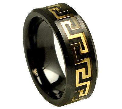 8mm Mens Or Ladies Black Ceramic Versace Greek Key Inlay Wedding Band Ring